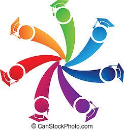 estudantes, logotipo, trabalho equipe, diplomados