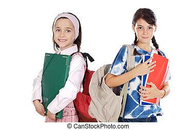 estudantes, meninas escola, dois, retorno