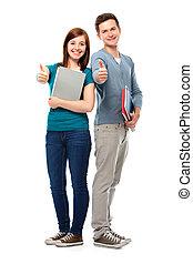 estudantes, mostrando, dedo polegar*-para cima