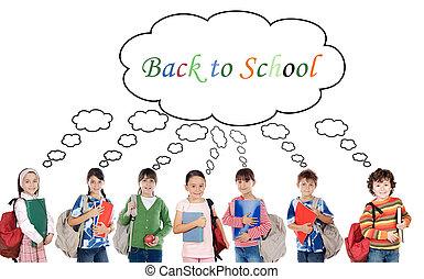 estudantes, muitos, crianças escola, retorno
