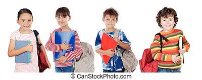 estudantes, muitos, crianças, retorno, escola