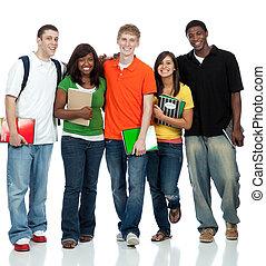 estudantes, multicultural, faculdade