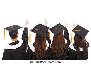 estudantes, olhar, apontar, graduado