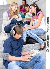 estudantes, partir, escadas, alto-escola, sentando