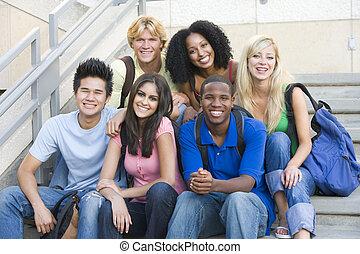 estudantes, passos, universidade, grupo, sentando