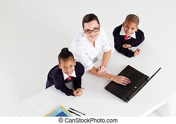 estudantes, primário, professor