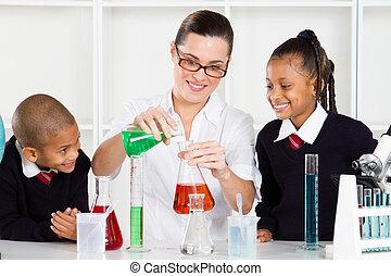 estudantes, professor ciência, ensinando