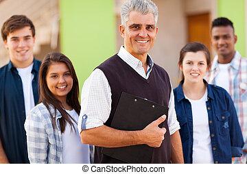 estudantes, professor escola secundária, retrato