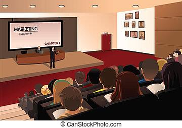 estudantes, professor, faculdade, escutar, auditório