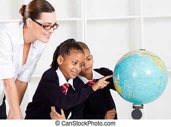 estudantes, professor, geografia