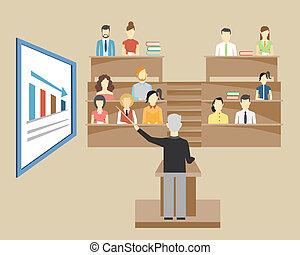 estudantes, professor, universidade, lecturing