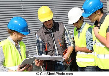 estudantes, profissional, treinamento, grupo