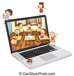 estudantes, quadro, escola, laptop