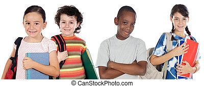 estudantes, quatro, crianças escola, retorno
