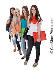estudantes, quatro, femininas, fila