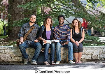 estudantes, retrato, campus universidade, sentando