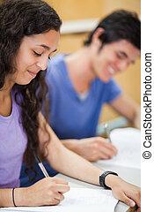 estudantes, retrato, escrita