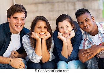 estudantes, retrato, feliz