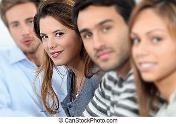 estudantes, retrato, sorrindo