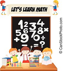 estudantes, sala aula, aprendizagem, matemática
