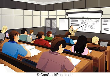 estudantes, sala aula