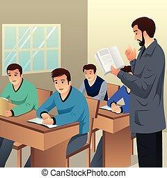 estudantes, sala aula, faculdade, ilustração