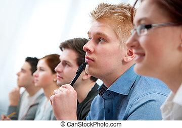 estudantes, sala aula, grupo