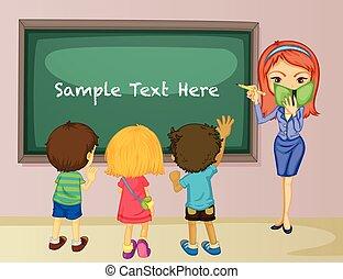 estudantes, sala aula, professor