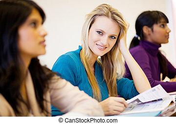 estudantes, sala aula, universidade, jovem