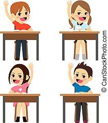 estudantes, sentando, escrivaninhas