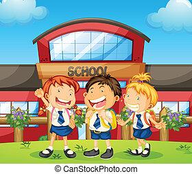 estudantes, três, feliz