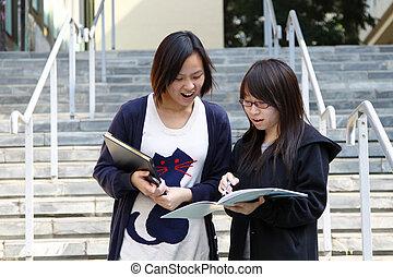 estudantes, universidade, asiático, campus