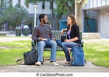 estudantes, universidade, banco, campus, sentando