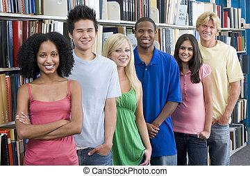 estudantes, universidade, grupo, biblioteca