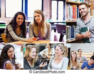 estudantes, vário, montagem, quadros, mostrando, biblioteca