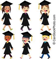 estudantes, vestido, crianças