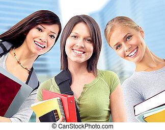 estudantes, woman., grupo