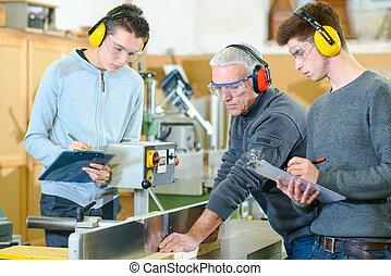 estudantes, woodwork, macho, classe