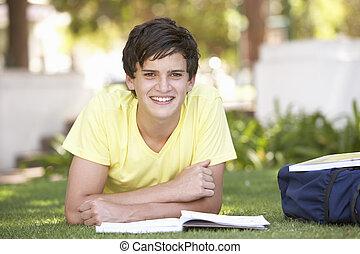estudar, adolescente, macho, parque, estudante