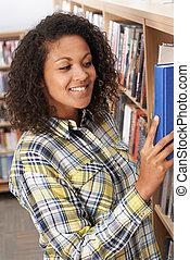 estudar, aluno feminino, biblioteca