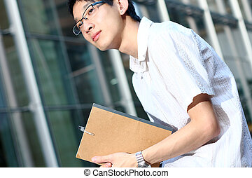 estudar, ao ar livre, homem jovem