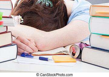 estudar, após, estudante, dormir