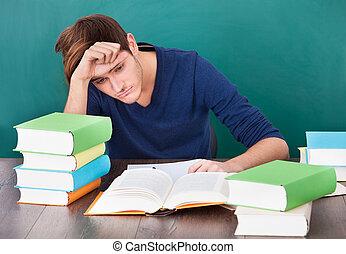 estudar, cansadas, homem jovem
