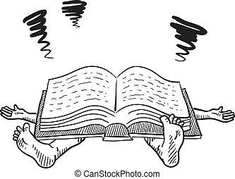 estudar, cansado, vetorial, saída