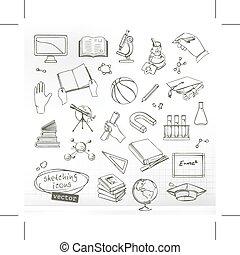 estudar, e, educação, ícones