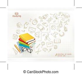 estudar, e, educação, infographic