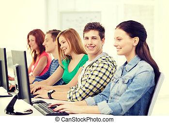 estudar, escola, computador, sorrindo, estudante