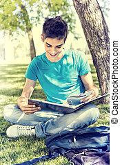 estudar, escola, jardim, estudante, jovem