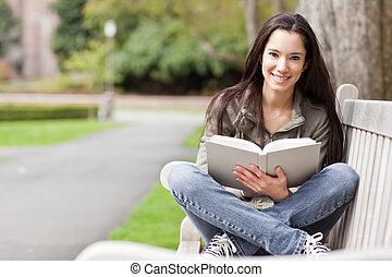 estudar, estudante universitário, étnico