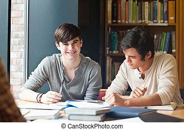 estudar, homens, jovem
